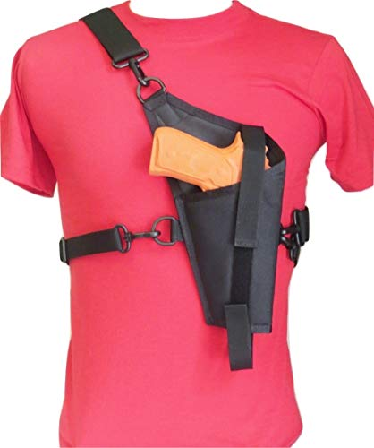 Tanker Style Cross Body Holster for 4'-5' Barrel Large Autos Colt 45 & Most Full Sized 1911 Pistols, Beretta 92, SD9VE and Most Similar Sized Pistols with 4'-5' Barrels Right Hand Use