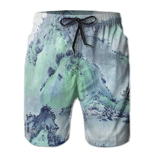 LREFON Hombres de Secado rápidoPantalones Cortos de Playa Pintura China Montañas Forro de Malla Surf Bañadores con Tasche 2XL