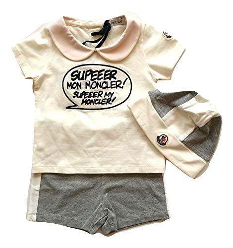 Moncler Junior Bebè Gift Box T-Shirt + Hose und Mütze aus Baumwolle, Weiß 6-9 Monate