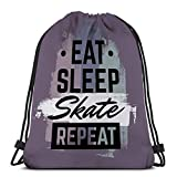 Jiuerlius2 Lightweight Hiking Swimming Beach Drawstring Backpack Bag Quote typographical Eat Sleep Skate Repeat Skateboard Minimalistic Style Grunge Vintage Fonts Template