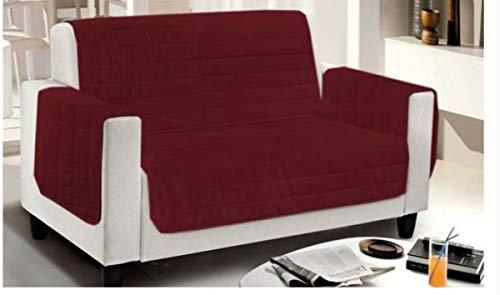 Smartsupershop Housse de fauteuil matelassée bicolore – Bordeaux/gris – Dimensions 65 cm (d'accoudoir à accoudoir) – Microfibre – Produit fabriqué en Italie