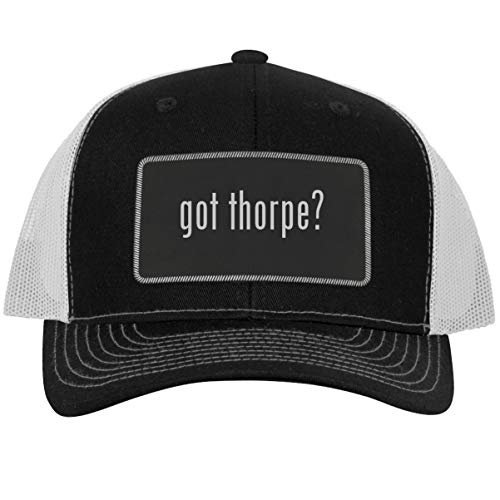got Thorpe? - Leather Black Metallic Patch Engraved Trucker Hat, Black-White, One Size