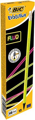 BIC 942882 Fluo potlood Evolution Fluo HB, met gum schacht 4-kleurig gesorteerd, doos à 12 stuks
