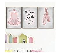 Chenjiaxu バレエのポスターと版画女の子の部屋の装飾、バレリーナの壁の芸術の写真キャンバスの絵画保育園の壁の装飾女の子のギフト-40X50Cmx3フレームなし