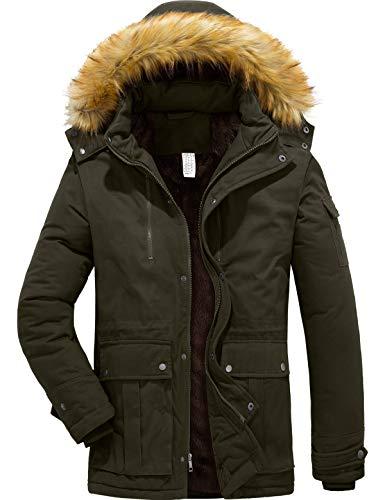 YXP Szory Men's Winter Warm Thicken Coat Hooded Jacket Fleece Lined Parka (Army Green,XXL-Large)