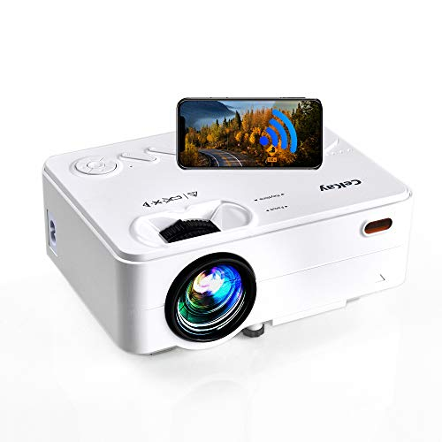 CeKay Mini Projector, WiFi Movie Projector with Synchronize Smartphone Screen, Full HD 1080P Supported and 200'' Display, 5500 Lux, Compatible with TV Stick, PS4, HDMI, VGA, SD, AV, USB