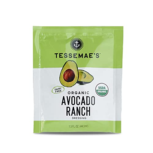 Tessemae's Organic Avocado Ranch Salad Dressing and Marinade To-Go Pouch, 24-pack, 1.5 fl oz, Sugar Free, Dairy Free, Gluten Free, Whole30 Approved, Keto Friendly