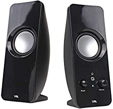 Cyber Acoustics CA-2050 2.0 Speaker System, 3.5mm Stereo Multimedia Desktop Computer Speaker, Separate headphone output, volume control, power on and off (CA-2050)