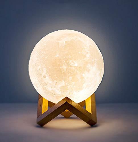 SAISAI 3D Bedside Moon Nachtlicht Touch Dimmbar Fernbedienungs Neon Zeichen Lichter USB Aufladung Mit Kostenlosem HolzstÄnder Moderne Lampe Home Decor Geschenk FÜr Kinder, Kinder(12cm),18