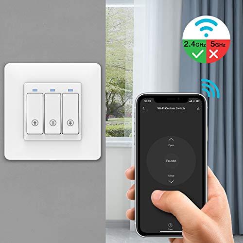 MoKo WLAN Smart Rolladen Zeitschaltuhr, WiFi Rolladenschalter Vorhang Schalter Wand Tastschalter, Kompatibel mit Alexa Echo Google Home, APP Fernbedienung und Timer-Funktion - 1 Pack
