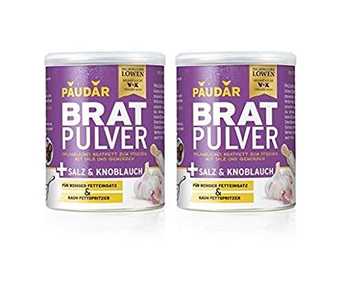 PAUDAR Bratpulver Salz & Knoblauch | 100% pflanzliches Bratfett zum Streuen, mit Salz und Knoblauch, weniger lästige Fettspritzer | fettarme Zubereitung von Fisch, Fleisch und Gemüse [2x 175 g]