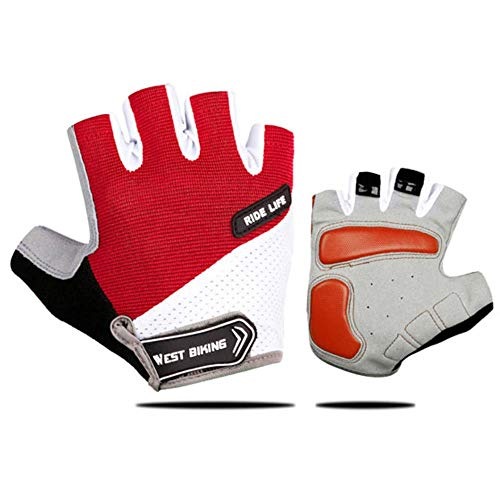 Cycling Gloves Motorcycle MTB Bike Bicycle Men Women Half Finger Gel Pad Breathable Sweat Shockproof Absorbing Anti Slip Gym Mountain Sports Riding Outdoor,Red,M 7.0-8.5cm