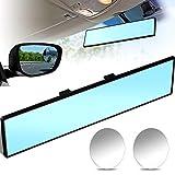 Car Rear View Mirror 300 mm Wide Rear View Mirror Flat Car Interior Mirror and Blind Spot Mirrors Round Convex Rear View Mirrors for Cars SUV Trucks (Blue, Clear)