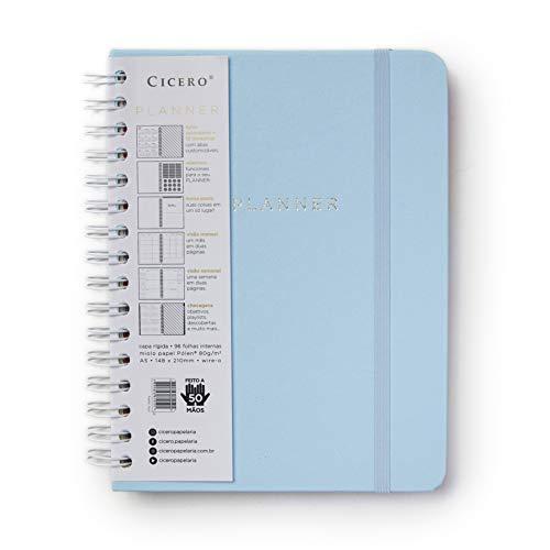 Planner Wire-o Pastel, Azul, Mensal e Semanal, 75 Folhas, Papel Pólen 80g/m², Tamanho A5 (Grande)