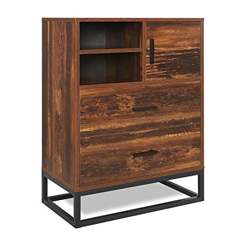 WLIVE Sideboard, 2-Schubladen Truhe, hohe Kommode, Lagerschrank mit offenem Raum und Stahlrahmen, Aufbewahrungsschrank für Schlafzimmer oder Wohnzimmer, rustikale Eiche O9-Serie