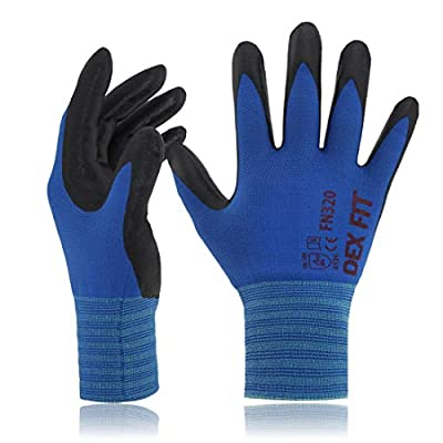 DEX FIT Nitrile Work Gloves FN320, 3D Comfort Stretch Fit, Power Grip, Durable Foam Coated, Thin & Lightweight Premium Nylon, Machine Washable, Blue Small 3 Pairs