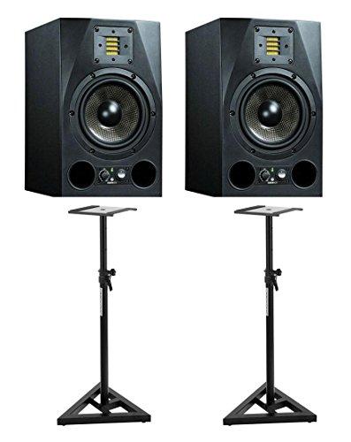 Adam A7X Aktiv-Studiomonitor Paar Set inkl. Stative (Nahfeld-Monitor mit X-ART Hochtöner, Leistung: 100/50 Watt), schwarz
