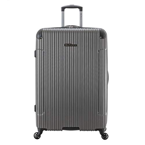 Ben Sherman Charlton Bay Collection Lightweight Hardside 4-Wheel Spinner Travel Luggage, Silver, 28-Inch Checked