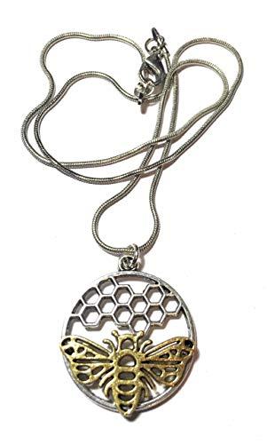 FizzyButton Geschenken Antieke Zilveren Toon Slang Ketting met Antieke Zilveren Toon Honingraat Bedel met Gouden Toon Bee in Turkoois Geschenkdoos