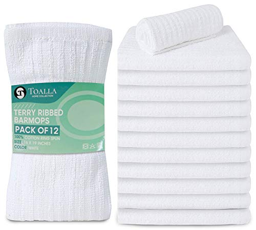 Toalla Bar Mop White 16x19 Pack of 12 Dish Towels 100% Cotton Route Ready Absorbent Kitchen Towel Bar Towels and Dishcloths Towels Sets Washcloth Kitchen Towels White Cleaning Rags