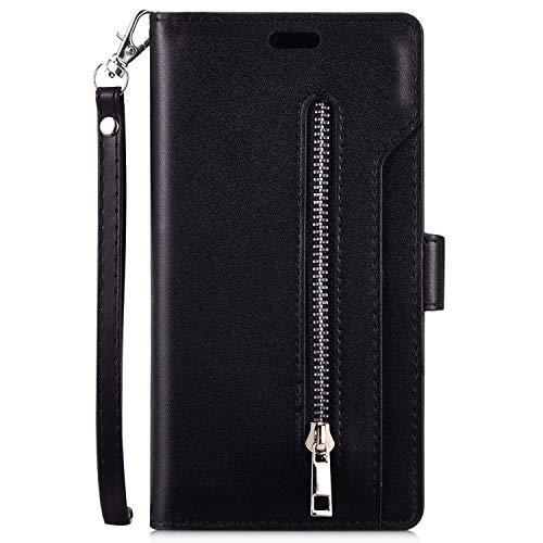 URFEDA Compatibile con Xiaomi Redmi 7A Custodia Libro per Telefono Portafoglio Custodia in Pelle PU con Nove Slot per Schede Cerniera Cover Libretto Protettiva Antiurto Case a con Magnetica,Nero