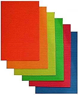 Offimart A4 Size Colored Corrugated Craft Paper Sheets for Scrapbooks, Posters, Hobbies - Pack of 10 (Assorted Colors)
