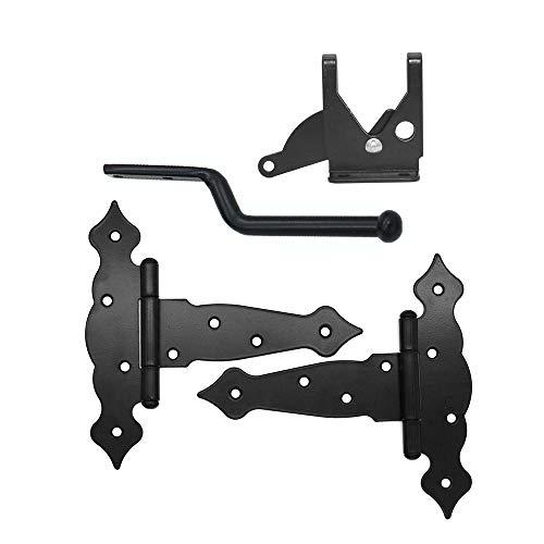 NUZAMAS - 2 piezas (20,3 cm) con correa en T y bisagras de cobertizo para puerta, bisagras para puerta de granero de puerta, bisagras de puerta de granero, herrajes de hierro forjado negro inoxidable