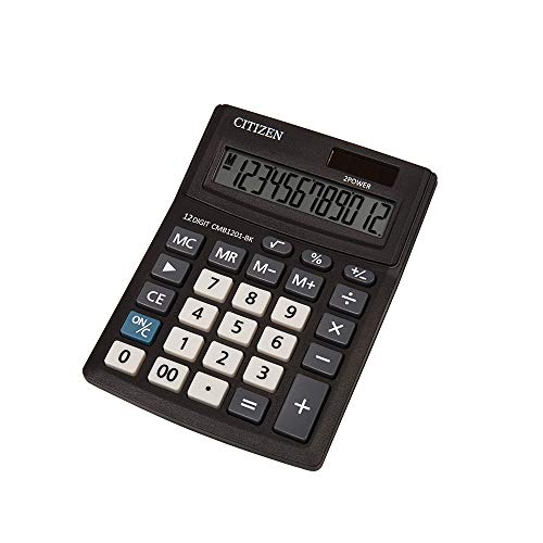Citizen CMB 1201-BK Büro Taschenrechner, Solar und Batterie, 12 Stellen, Schwarz, 13,7x10,2 cm (TxB), 1 Stück