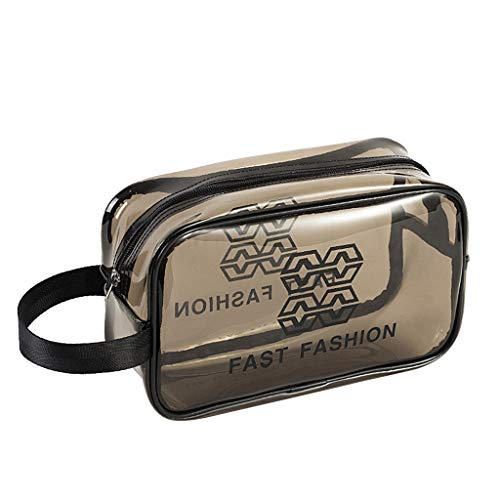 Yowablo Transparente Reisetasche Tragbare Aufbewahrungstasche wasserdichte gepolsterte PVC-Badetasche (26x10x15cm,Grau)