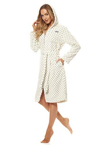 L&L - 9156 Long Luxury Toweling Damen Weicher Langarm Bademantel. Extrem Leicht. Hausmantel mit Reißverschluss in Voller Länge mit Kapuze für Damen. (Weiß, Small)