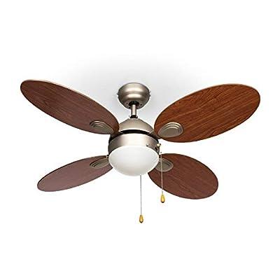 """Klarstein Valderama Ceiling Fan (42"""", 60W Fan Power, 2 x 43W Ceiling Lamp, 3 Selectable Speeds)"""