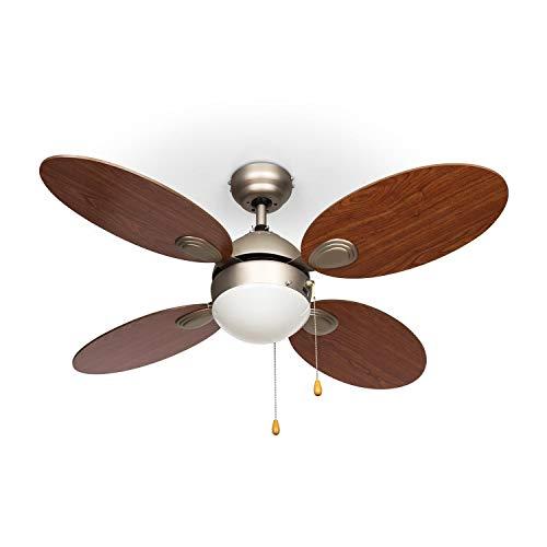 Klarstein Valderama plafondventilator met verlichting (4 rotorbladen, stil lopend, 106cm diameter, plafondlamp, 2 x 43 watt, 3 snelheden, body van geborsteld nikkel) lichtbruin