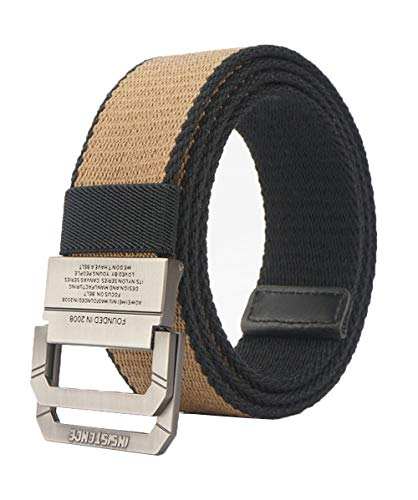 Longwu Men's Military Web Canvas Double D-Ring Buckle Casual Tactical Belt-Khaki