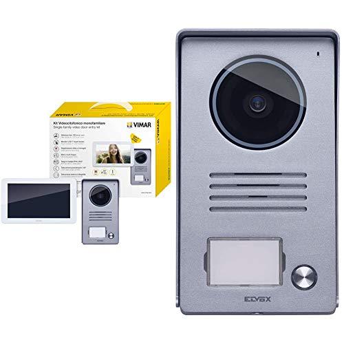 Vimar K40915 Kit Videocitofono Touch Screen Monofamiliare con Alimentatore Multispina, Grigio la Targa Esterna-Bianco Il Monitor & 40920.P1 Videocitofono-Targa per Kit Video 7' Monofamiliare, Grigio
