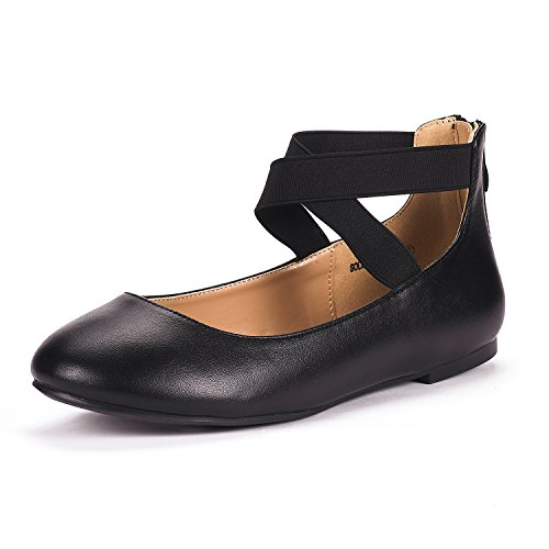 DREAM PAIRS Women's Sole_Stretchy Black Pu Fashion Elastic Ankle Straps Flats Shoes Size 6.5 M US
