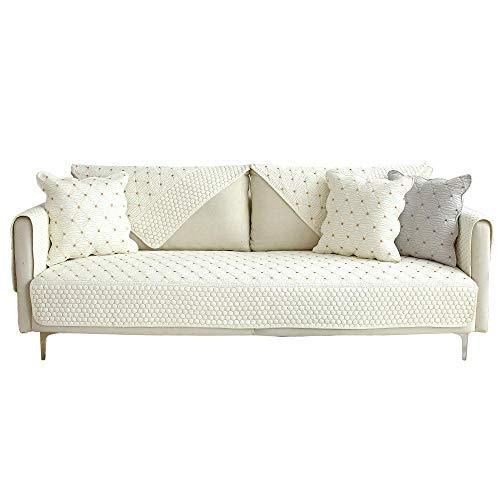 YUTJK rutschfest Quilten Gewaschen Multi-Größen Abschnittsweise Sofabezug, Vier Jahreszeiten universell Möbelschutz, Wende-Sofabezug aus Baumwolle, verkauft in stück, Weiß