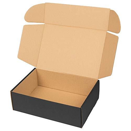 packer PRO Pack 25 Cajas Carton Envios Automontables para Ecommerce y Regalo Negras, Mediana 34x23,5x11cm