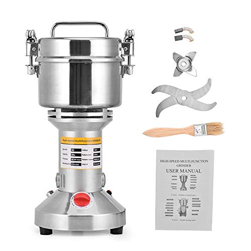 HUKOER Tragbare Getreidemühle 220 V Herb Grain Spice Getreidemühle Mühle Mehl Pulver Maschine, 3 Klingen Timing Schleifmaschine High Speed Küchenmaschine (500g Kapazität)