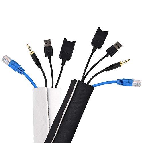 conecto Organizador de Cables de Neopreno con Cierre de Velcro Universal, 3 m, CC50684, Color Negro y Blanco