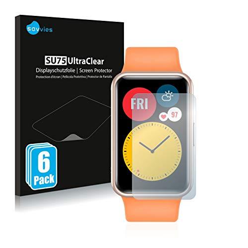 Savvies 6X Schutzfolie kompatibel mit Huawei Watch Fit Bildschirmschutz-Folie Ultra-transparent