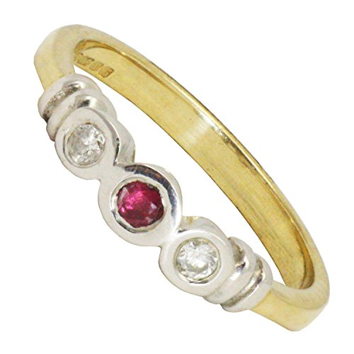 BJC–9ct oro giallo rubino e diamante Trilogy Anello Taglia M Nuovo in scatola