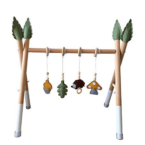 HB.YE Babyspielzeug aus Holz Puzzle Gym Spieltrapez inkl.Anhänger Baby-Fitness-Spielzeug/Babyzimmer Kinderzimmer Dekoration (C-Weiß + Grün)
