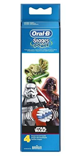 Oral-B Stages Testine di Ricambio per Spazzolino Elettrico Ricaricabile, con Personaggi Disney Star Wars, Appositamente per Bambini, Confezione da 4