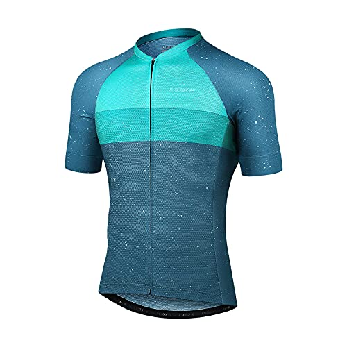 INBIKE MaillotCiclismo Hombre Camiseta Manga Corta Verano Bicicleta Carretera Azul Simple Elegante, XXL Azul&Verde