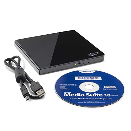 Hitachi-LG GP57 Externer Portabler Super-Multi DVD-Brenner, Ultra Slim, USB 2.0, DVD+/-RW, CD-RW, DVD-ROM/RAM kompatibel, TV-Anschluss, Windows 10 & Mac OS kompatibel, Schwarz