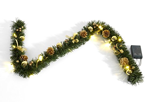 Heitmann Deco kunstmatige dennenslinger, feestslinger, goud gedecoreerd, met LED-verlichting, 120 cm, plastic, 46,3 x 14,3 x 6,5 cm