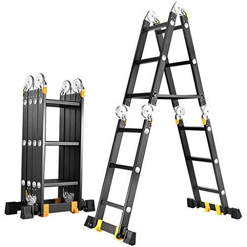 Telescopische klapladder multifunctionele visgraadladder aluminiumlegering huishouden optillen rechte ladder techniek ladder verdikte 5 mm 2.3m+2.3m