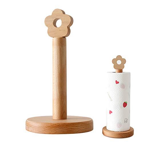 Redsa - Porta asciugamani in legno creativo, porta rotolo da cucina verticale con decorazione a fiori, per cucina, tavolo da pranzo, bagno, accessori per la casa