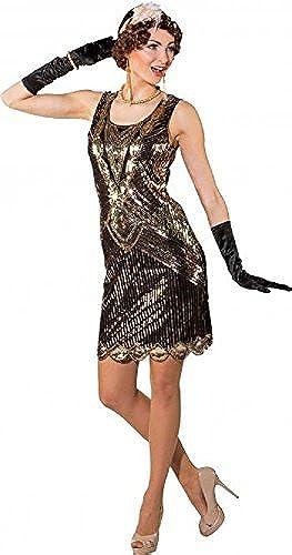 Fancy Me Damen Deluxe Vintage Pailletten Gold SchwarzFlapper 1920s Jahre 20s Charelston Blinders Kostüm Kleid Outfit