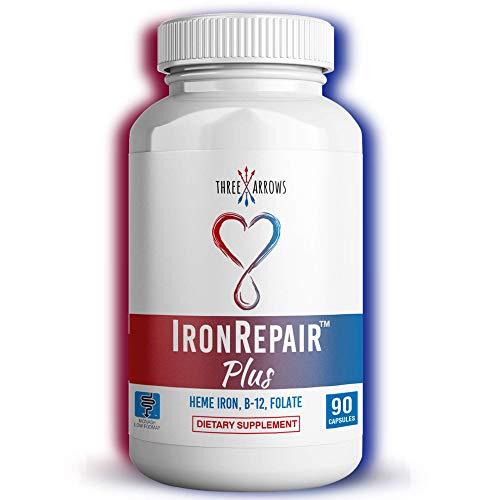 Iron Repair Plus Heme Iron Supplement, Best Absorption Gentle on Stomach, Monash Low FODMAP, Raise Hemoglobin & Ferritin for Women, Teens & Pregnancy Methylated B-12 & Folate, 90 Gelatin Capsules